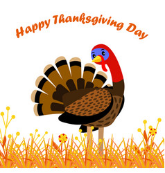 Happy thanksgiving day card with cartoon turkey vector