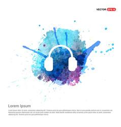 headphone icon - watercolor background vector image