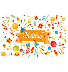 Holiday banner with gift boxes balloons ice vector