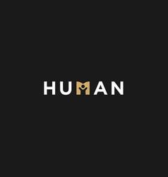 Human negative space simple minimalist logo vector