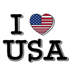 i love usa flag vector image