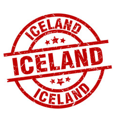Iceland red round grunge stamp vector