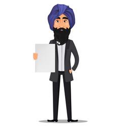 Indian business man cartoon character vector