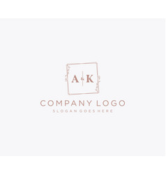 Initial ak letters decorative luxury wedding logo vector