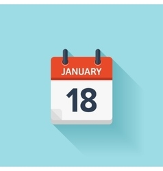 January 18 flat daily calendar icon Date vector