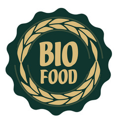 label bio food with ears vector image