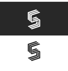 Letter S logo isometric black and white typography vector