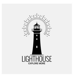lighthouse navigation logo vintage on white vector image