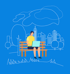 man character sitting on bench in park with laptop vector image