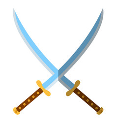 Medieval sword icon and label flat style logo vector