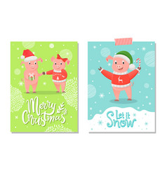 Merry christmas and let it snow postcards piglets vector
