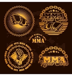 MMA mixed martial arts emblem badges - set vector