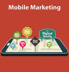 Mobile marketing and personalizing Smartphone with vector image