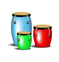 multicoloured congas music band with shadow vector image