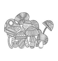mushrooms with patterns black and white vector image