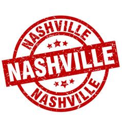 Nashville red round grunge stamp vector