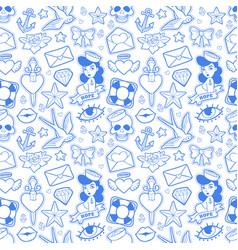 Old school seamless pattern in rockabilly style vector