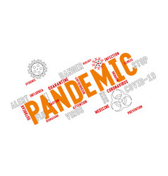 Pandemic word tag cloud typography with stylized vector