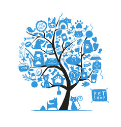 Pet shop art tree for your design vector