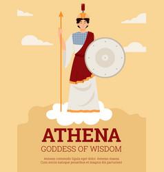 Poster with athena goddess wisdom warfare vector