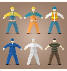 Professions set of workers and builders vector image