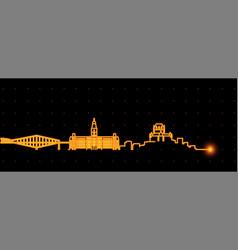 Quebec light streak skyline profile vector