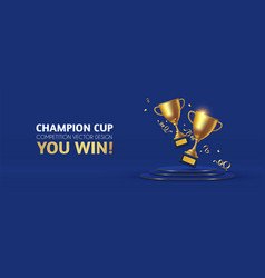 realistic golden champion cup with circle podium vector image