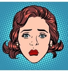 Retro Emoji sadness woman face vector image