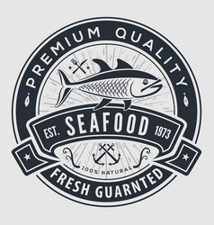 seafood label badge emblem or logo vector image