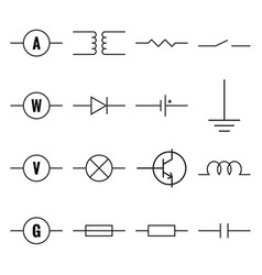 set of electronic components vector image