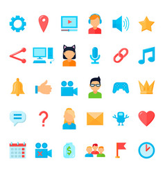 set of flat video games streaming icons vector image