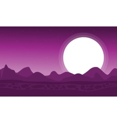 Silhouette of dessert with moon landscape vector image