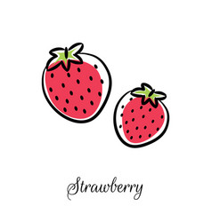 strawberry line doodle icon vector image vector image