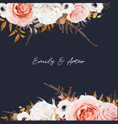 stylish wedding invite save date card design navy vector image