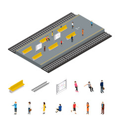 subway station and parts isometric view vector image
