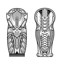 Tattoo abstract black arm template set vector