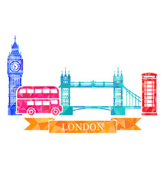 Traditional symbols london in polygonal style vector