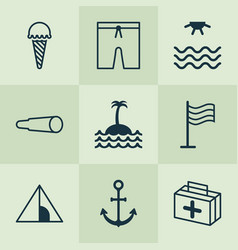 travel icons set with sea tent medicine and vector image