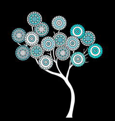 tree with blue ethnic motifs flowers vector image