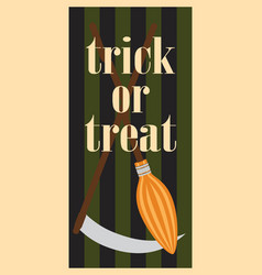 Trick or treat halloween broom and scythe handles vector