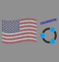 united states flag mosaic cooperation and vector image