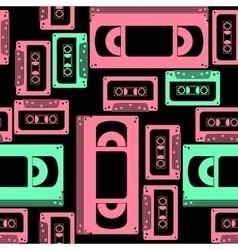 Vhs cassette seamless pattern vector
