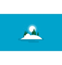 Winter with spruce and moon Christmas scenery vector
