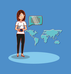 woman chatting world connection social media vector image