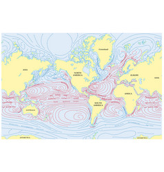 World map of all sea currents vector