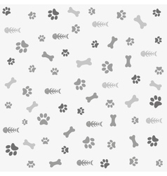 Background with dog cat paw print and bone vector image vector image
