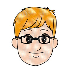 cartoon head young man smile expression vector image