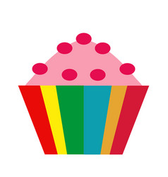 colorful cupcake icon flat cartoon style vector image vector image