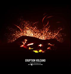 eruption volcano thunderstorm sparks big vector image