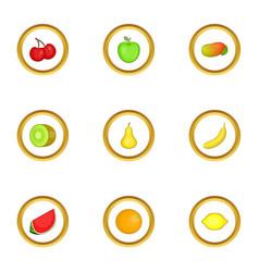 fresh fruit icons set cartoon style vector image vector image